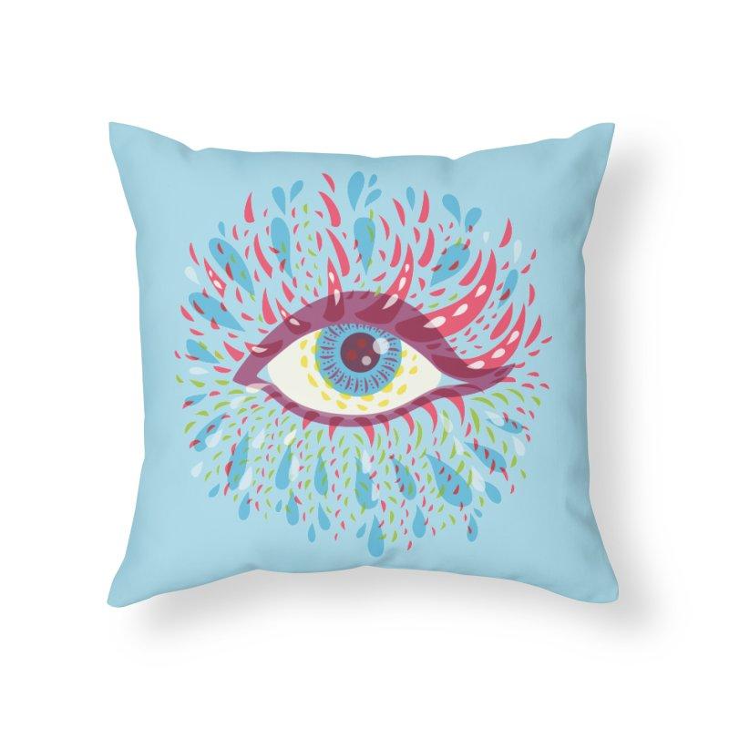 Weird Blue Psychedelic Eye Home Throw Pillow by Boriana's Artist Shop