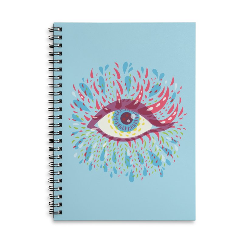 Weird Blue Psychedelic Eye Accessories Lined Spiral Notebook by Boriana's Artist Shop