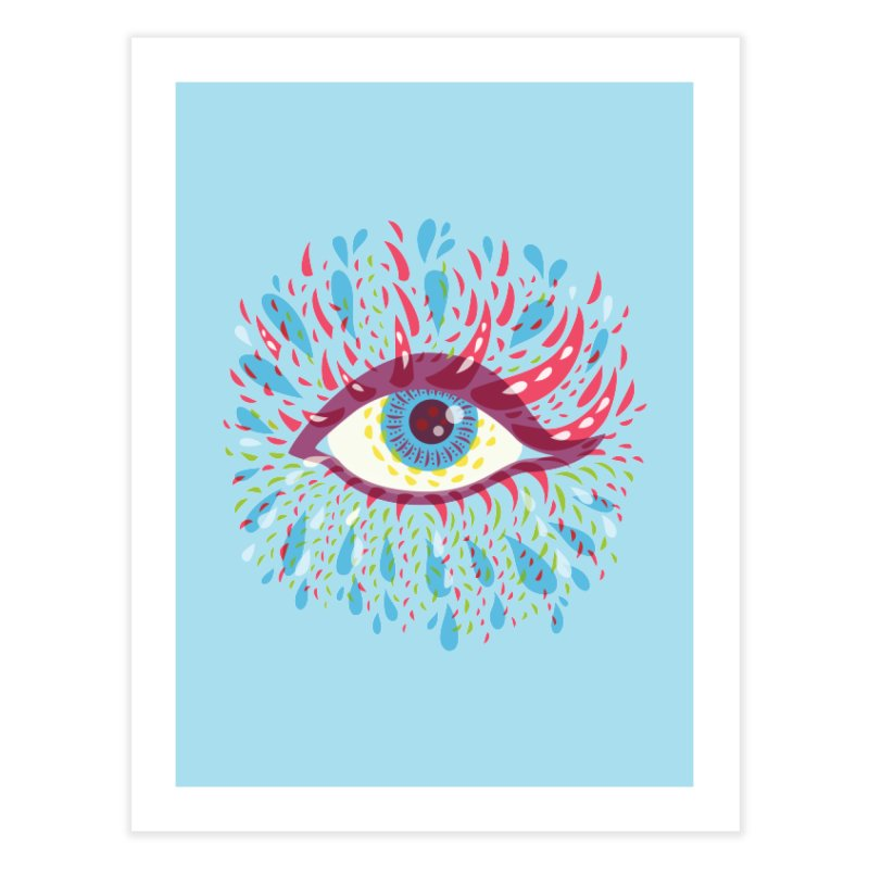 Weird Blue Psychedelic Eye Home Fine Art Print by Boriana's Artist Shop