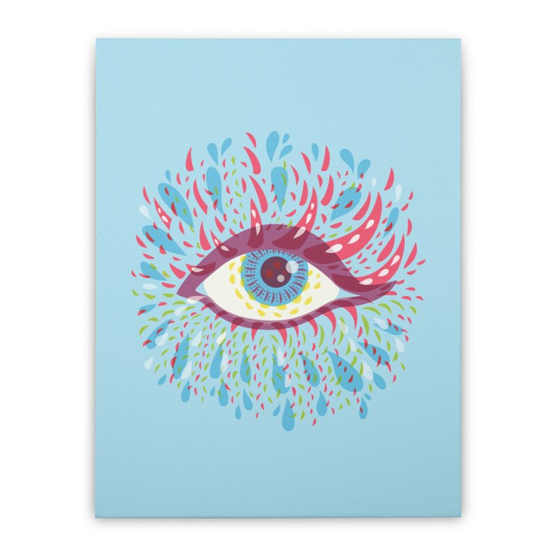 Weird Blue Psychedelic Eye Home Stretched Canvas by Boriana's Artist Shop