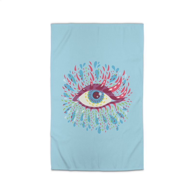 Weird Blue Psychedelic Eye Home Rug by Boriana's Artist Shop