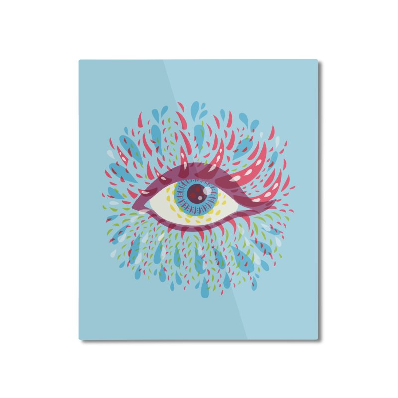 Weird Blue Psychedelic Eye Home Mounted Aluminum Print by Boriana's Artist Shop