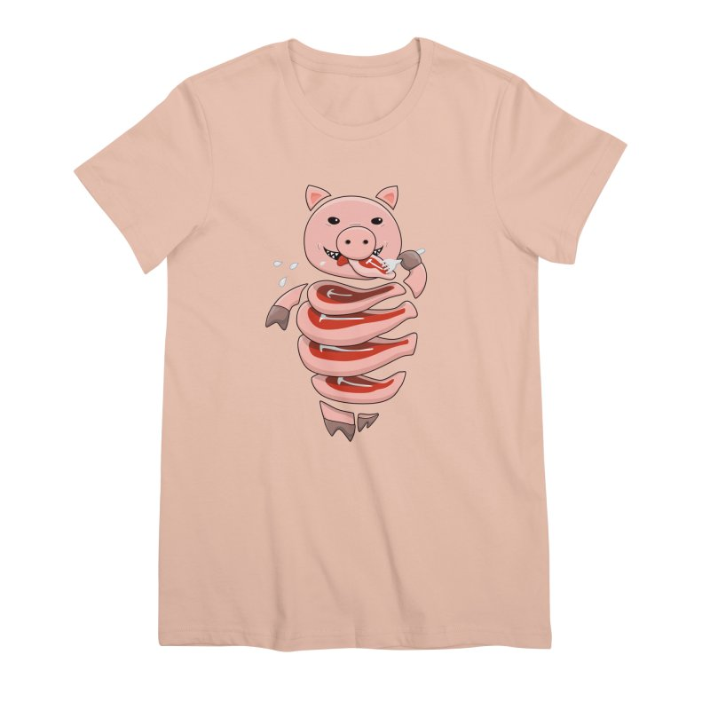 Funny Stupid Hungry Pig Women's Premium T-Shirt by Boriana's Artist Shop