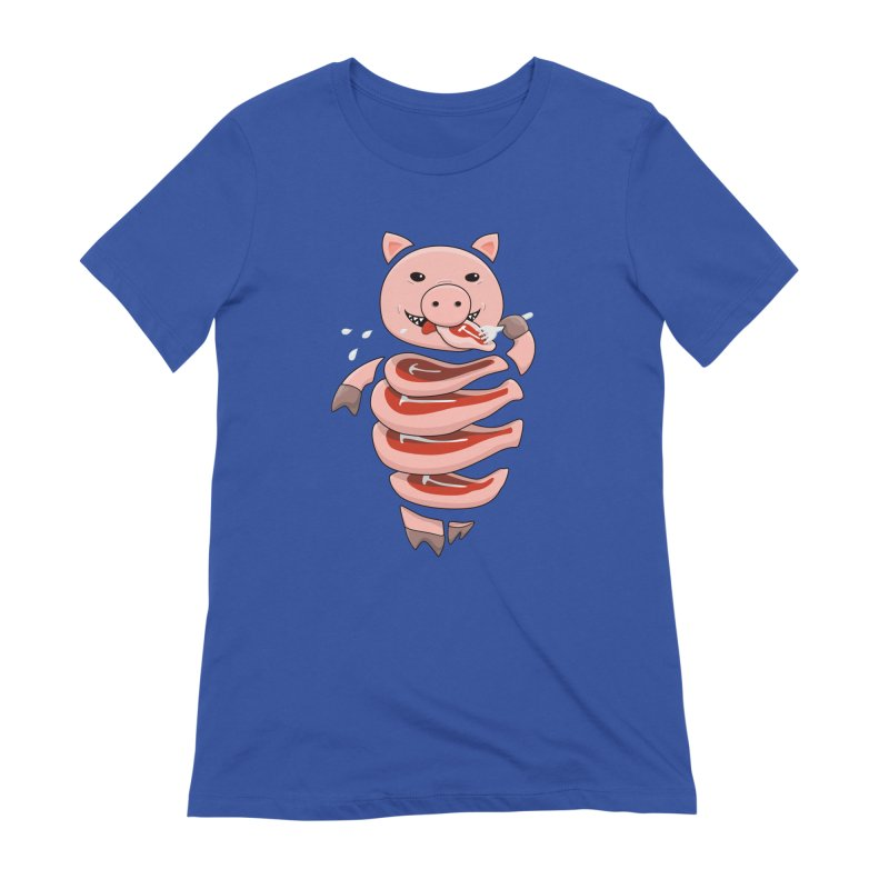 Funny Stupid Hungry Pig Women's Extra Soft T-Shirt by Boriana's Artist Shop