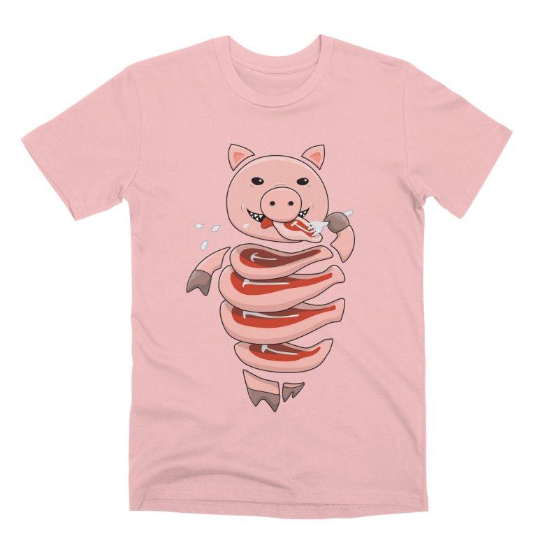 Funny Stupid Hungry Pig Men's Premium T-Shirt by Boriana's Artist Shop