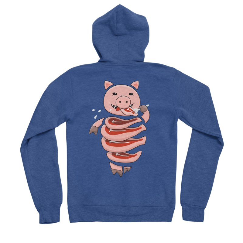 Funny Stupid Hungry Pig Women's Sponge Fleece Zip-Up Hoody by Boriana's Artist Shop