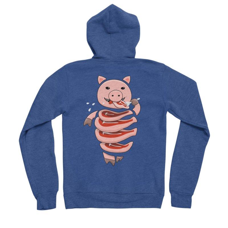 Funny Stupid Hungry Pig Men's Sponge Fleece Zip-Up Hoody by Boriana's Artist Shop