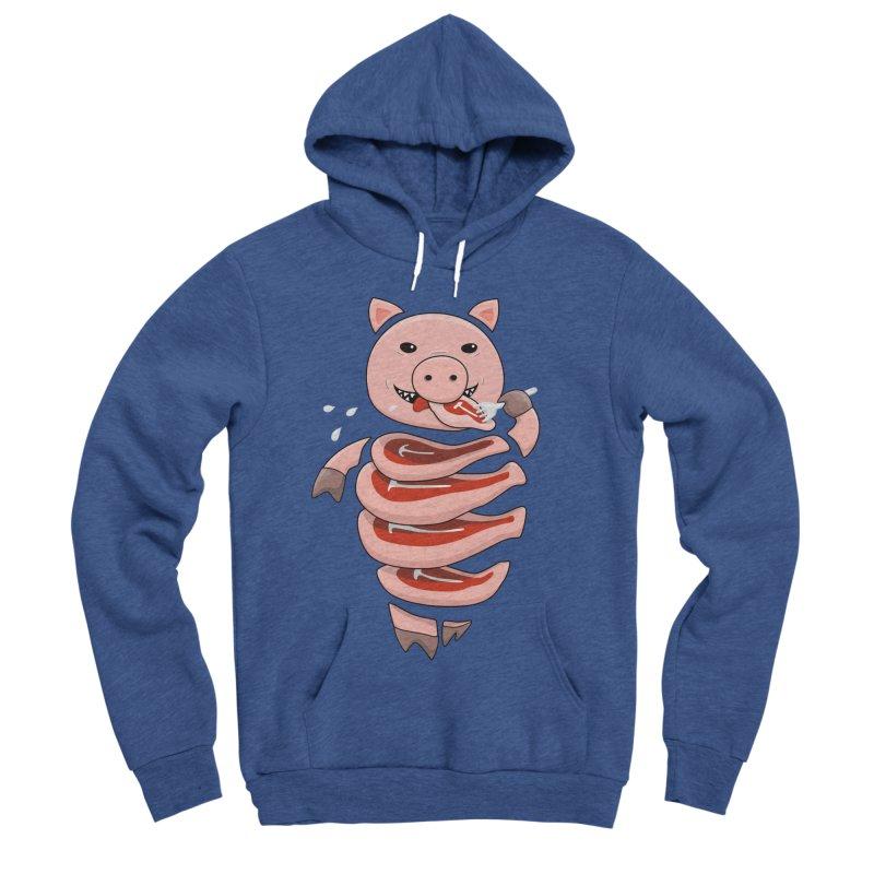 Funny Stupid Hungry Pig Men's Sponge Fleece Pullover Hoody by Boriana's Artist Shop