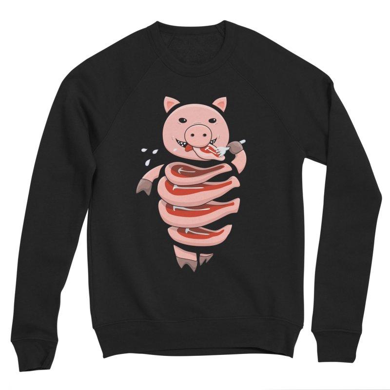 Funny Stupid Hungry Pig Men's Sponge Fleece Sweatshirt by Boriana's Artist Shop