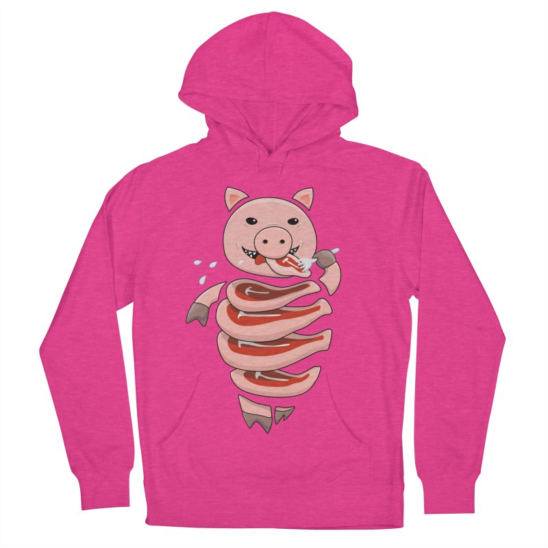 Funny Stupid Hungry Pig Women's French Terry Pullover Hoody by Boriana's Artist Shop