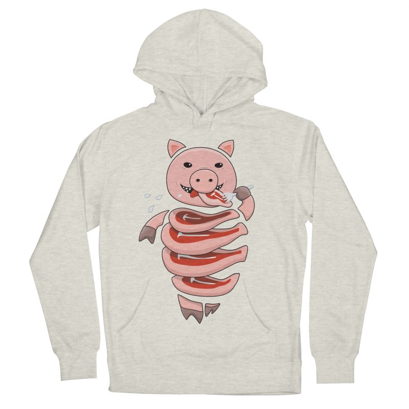 Funny Stupid Hungry Pig Men's French Terry Pullover Hoody by Boriana's Artist Shop