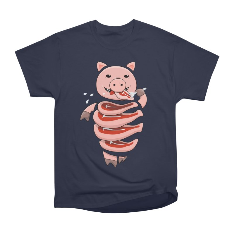 Funny Stupid Hungry Pig Women's Heavyweight Unisex T-Shirt by Boriana's Artist Shop
