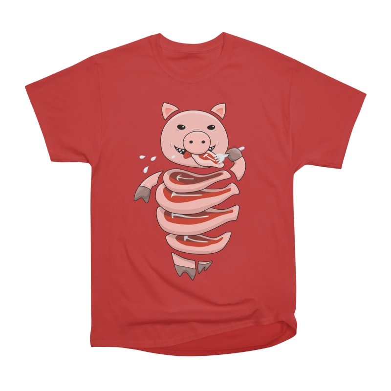 Funny Stupid Hungry Pig Men's Heavyweight T-Shirt by Boriana's Artist Shop