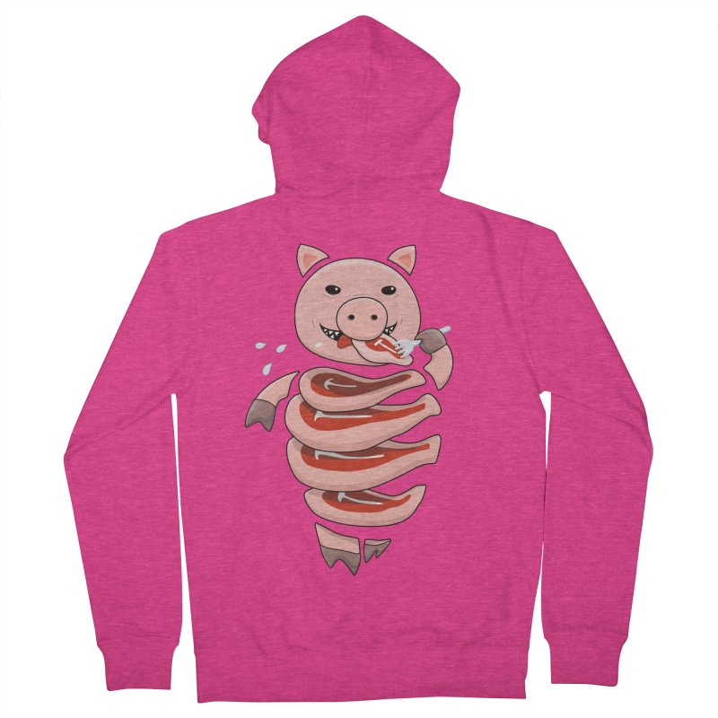 Funny Stupid Hungry Pig Women's French Terry Zip-Up Hoody by Boriana's Artist Shop