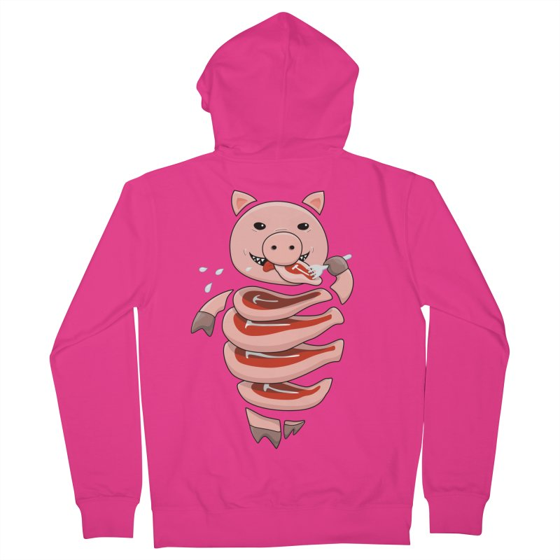 Funny Stupid Hungry Pig Men's French Terry Zip-Up Hoody by Boriana's Artist Shop