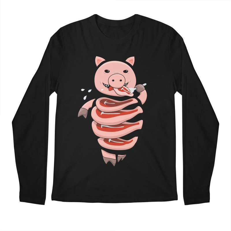 Funny Stupid Hungry Pig Men's Regular Longsleeve T-Shirt by Boriana's Artist Shop