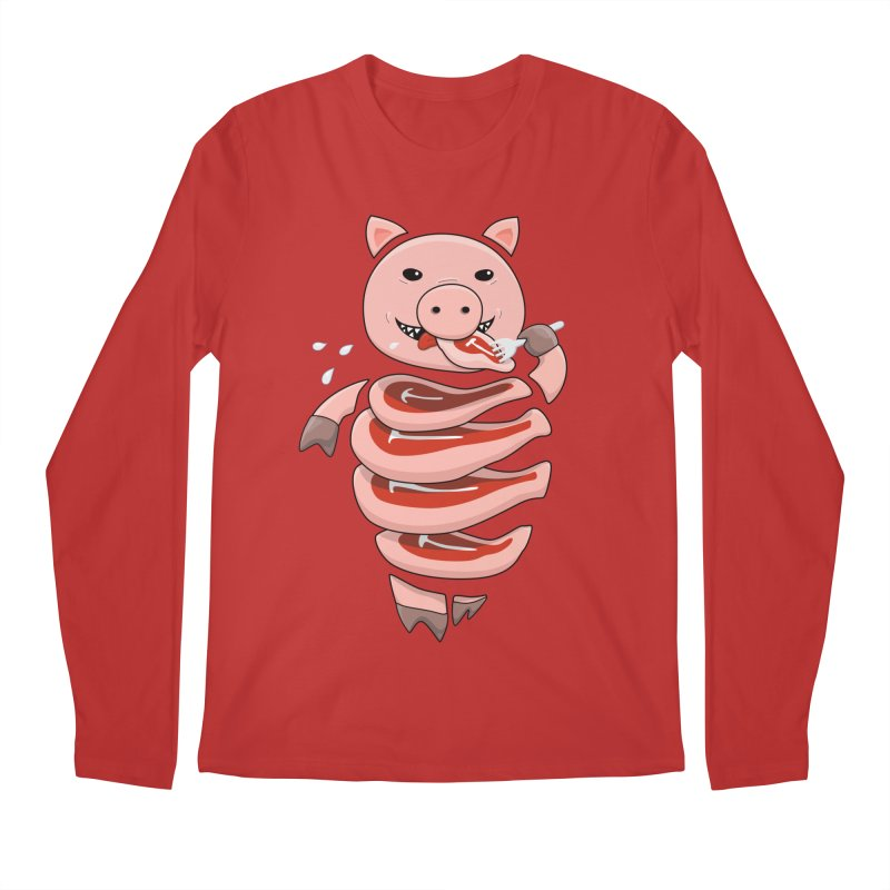 Funny Stupid Hungry Pig Men's Regular Longsleeve T-Shirt by Boriana's Artist Shop