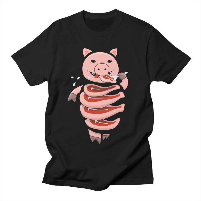 Funny Stupid Hungry Pig Women's Regular Unisex T-Shirt by Boriana's Artist Shop