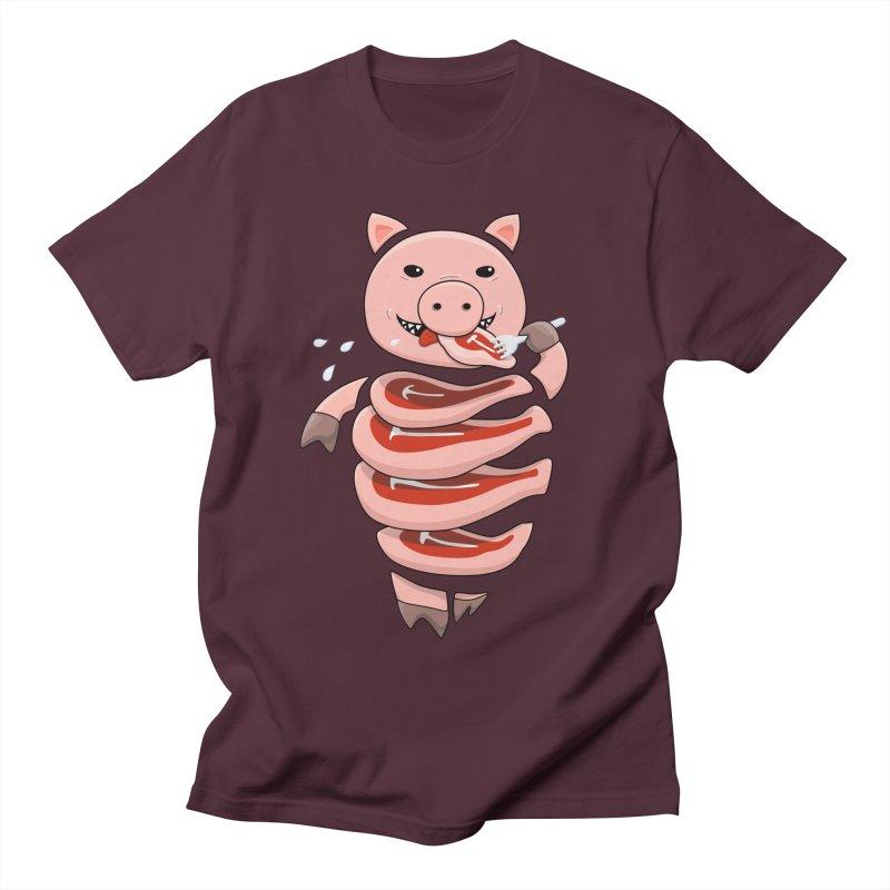 Funny Stupid Hungry Pig Men's Regular T-Shirt by Boriana's Artist Shop