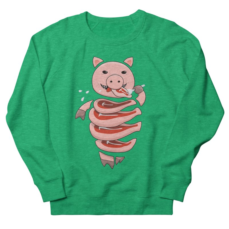 Funny Stupid Hungry Pig Men's French Terry Sweatshirt by Boriana's Artist Shop