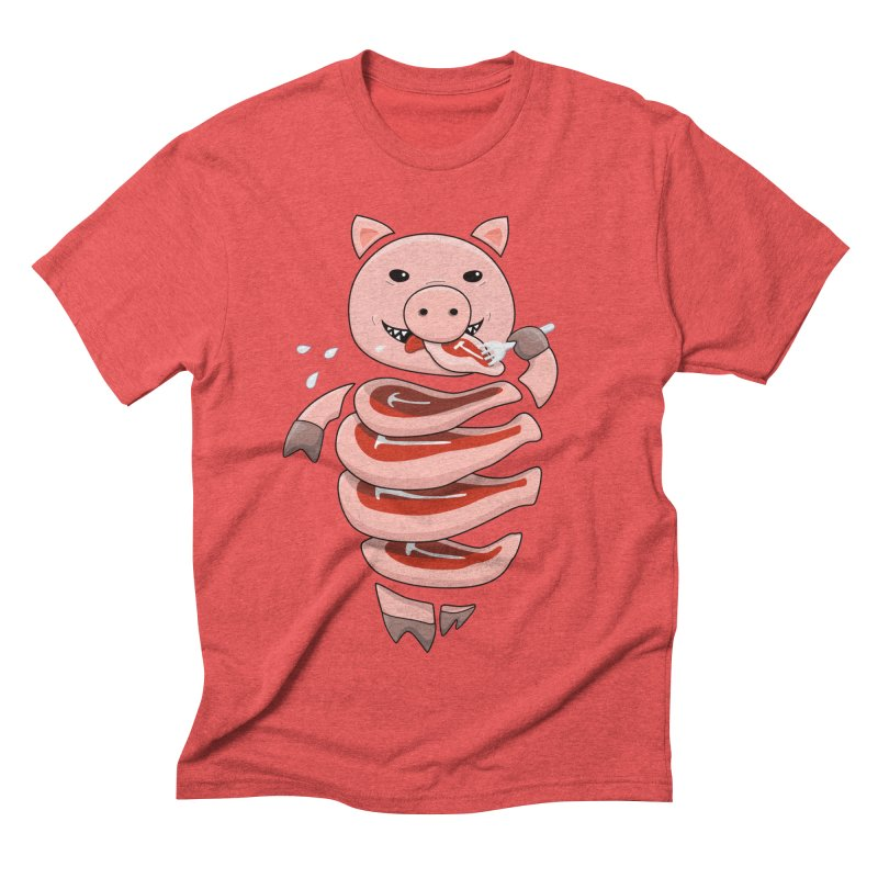 Funny Stupid Hungry Pig Men's Triblend T-Shirt by Boriana's Artist Shop