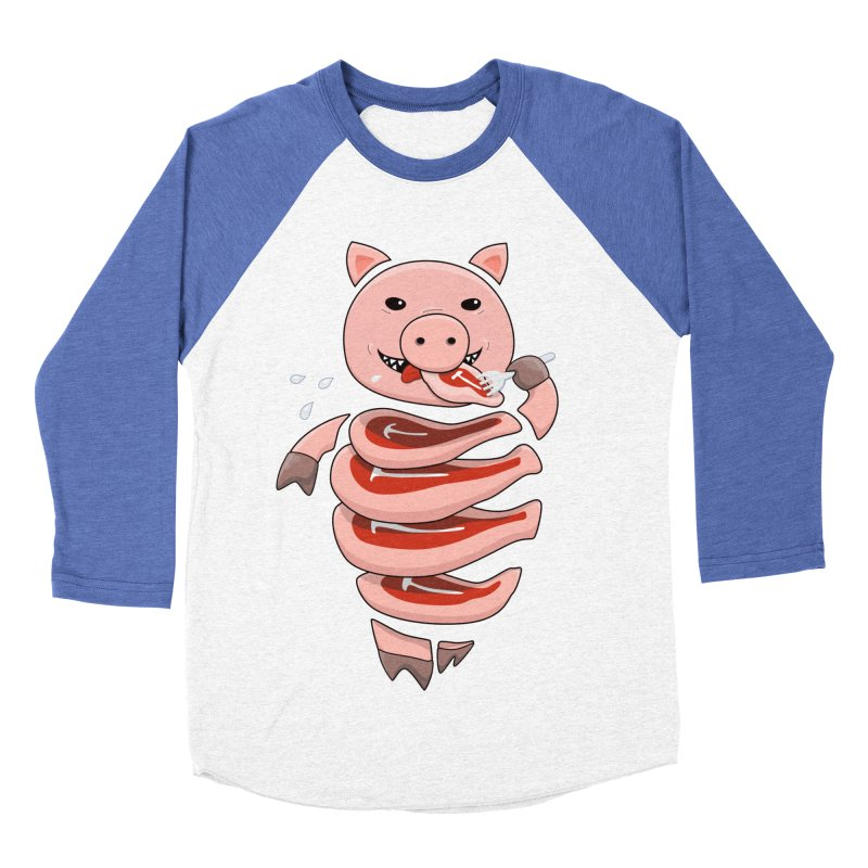 Funny Stupid Hungry Pig Men's Baseball Triblend Longsleeve T-Shirt by Boriana's Artist Shop