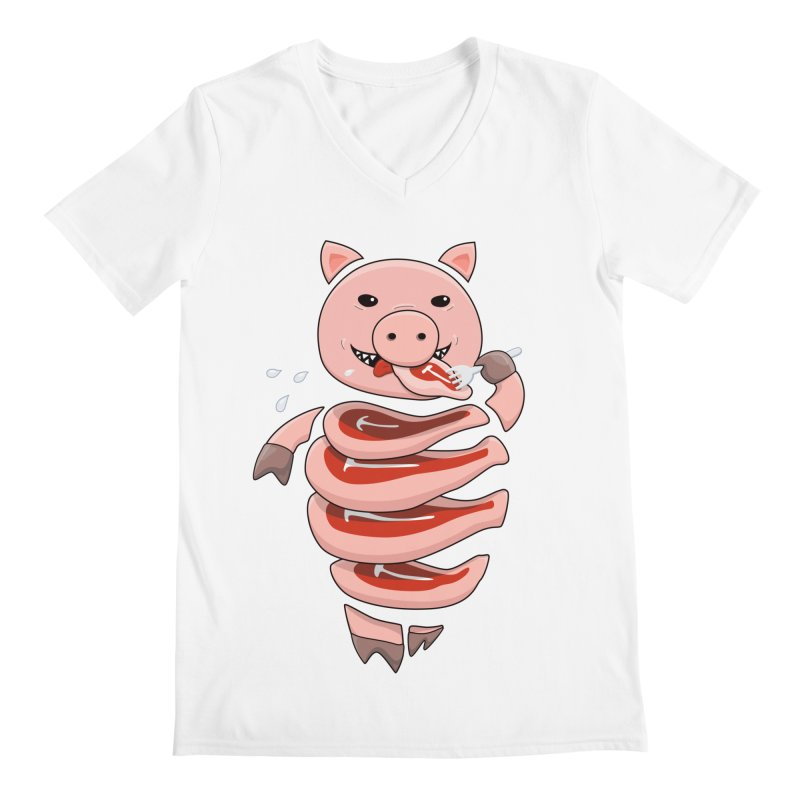 Funny Stupid Hungry Pig Men's Regular V-Neck by Boriana's Artist Shop