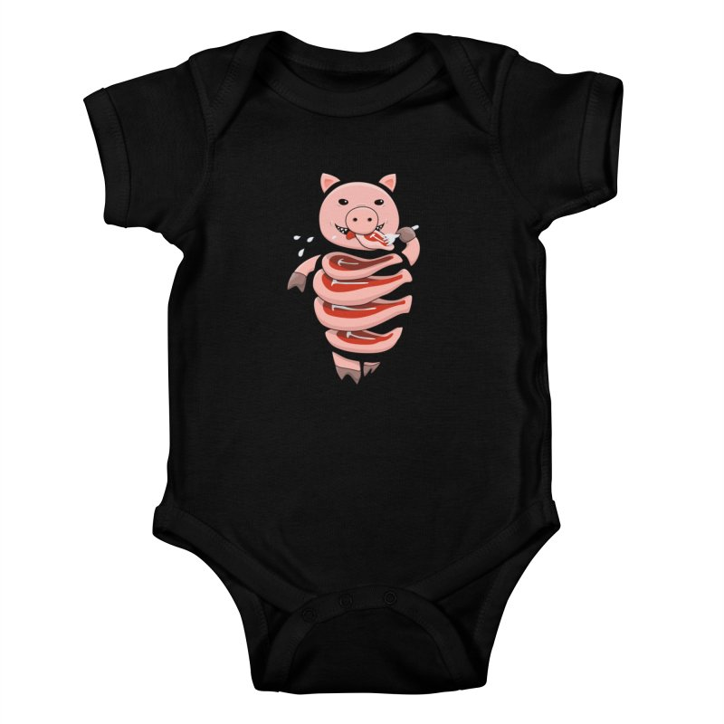Funny Stupid Hungry Pig Kids Baby Bodysuit by Boriana's Artist Shop