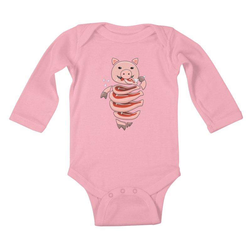 Funny Stupid Hungry Pig Kids Baby Longsleeve Bodysuit by Boriana's Artist Shop