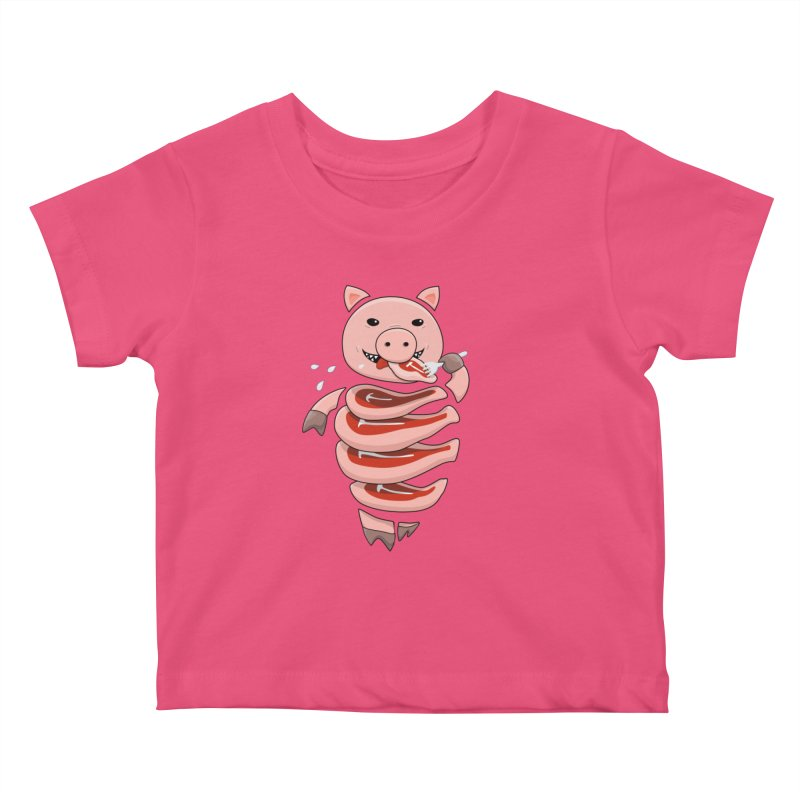 Funny Stupid Hungry Pig Kids Baby T-Shirt by Boriana's Artist Shop