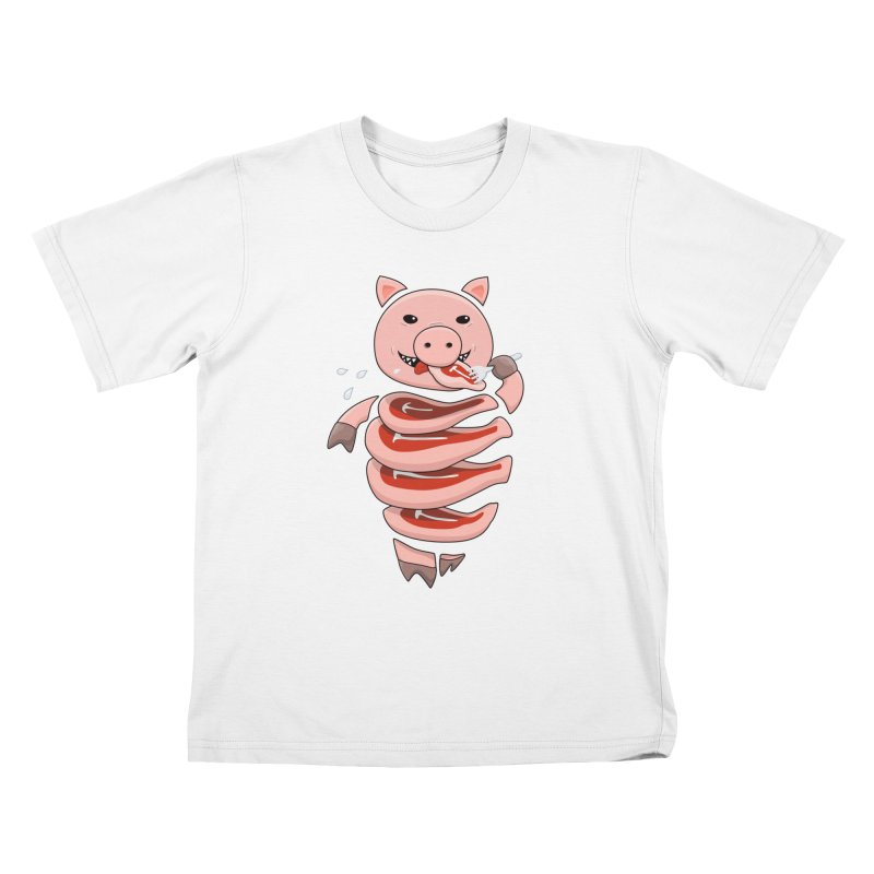 Funny Stupid Hungry Pig Kids T-Shirt by Boriana's Artist Shop