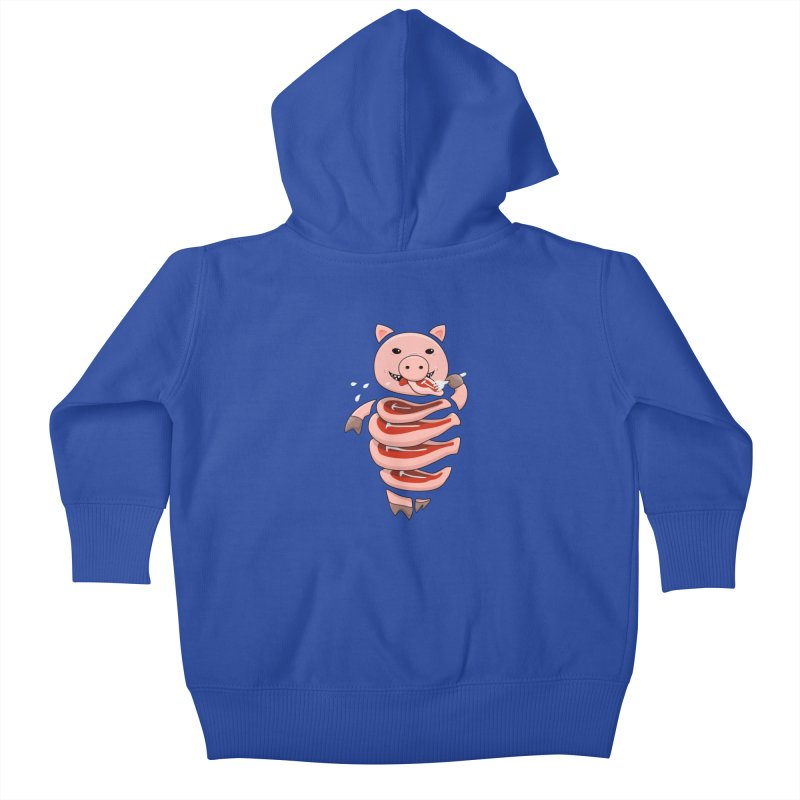 Funny Stupid Hungry Pig Kids Baby Zip-Up Hoody by Boriana's Artist Shop