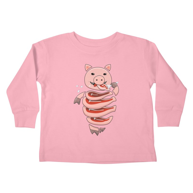 Funny Stupid Hungry Pig Kids Toddler Longsleeve T-Shirt by Boriana's Artist Shop