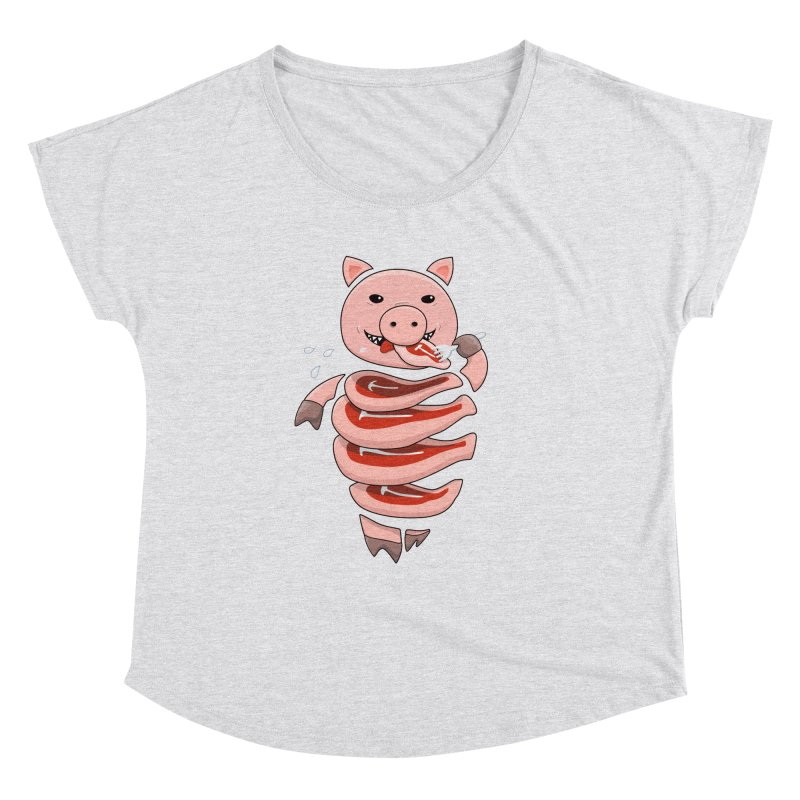 Funny Stupid Hungry Pig Women's Dolman Scoop Neck by Boriana's Artist Shop