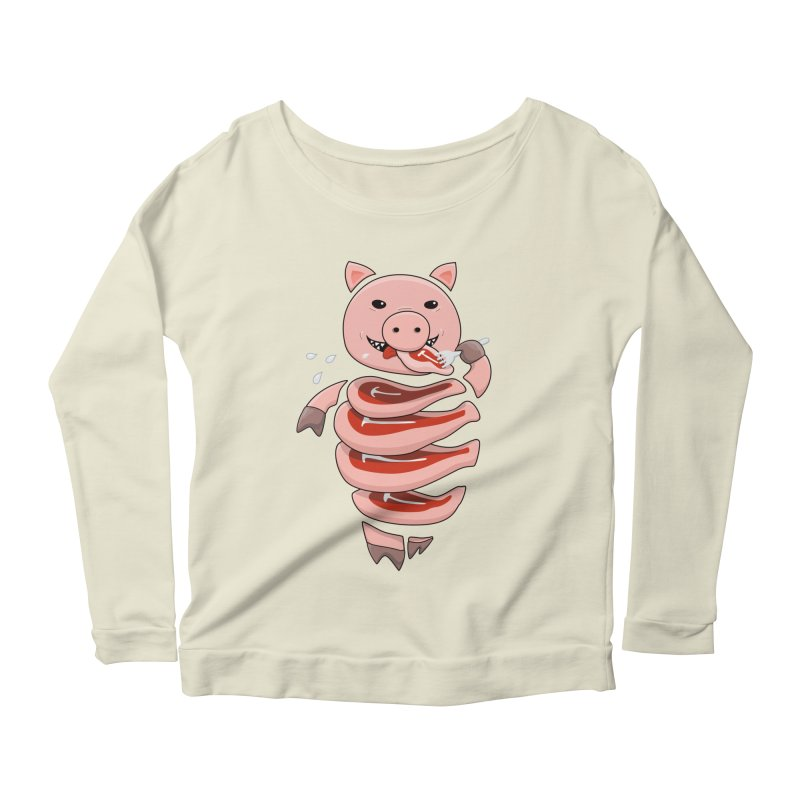 Funny Stupid Hungry Pig Women's Scoop Neck Longsleeve T-Shirt by Boriana's Artist Shop