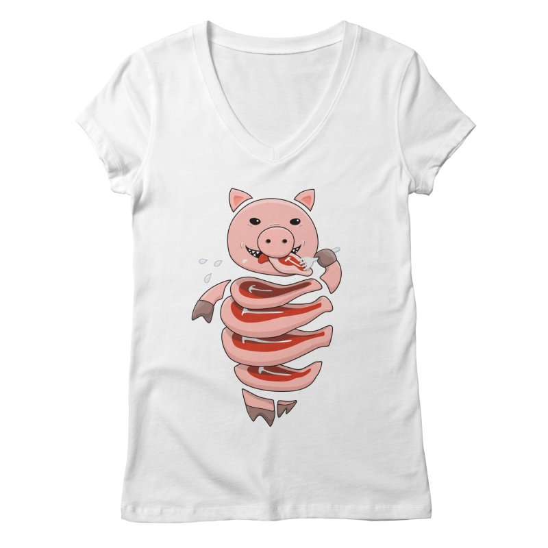 Funny Stupid Hungry Pig Women's Regular V-Neck by Boriana's Artist Shop