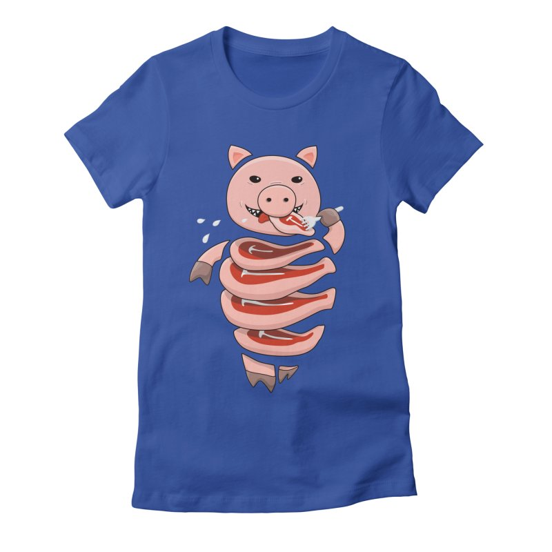 Funny Stupid Hungry Pig Women's Fitted T-Shirt by Boriana's Artist Shop
