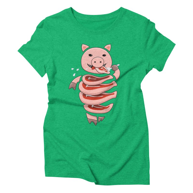 Funny Stupid Hungry Pig Women's Triblend T-Shirt by Boriana's Artist Shop