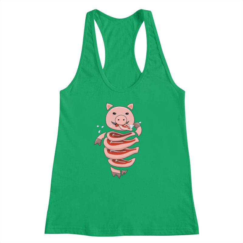 Funny Stupid Hungry Pig Women's Racerback Tank by Boriana's Artist Shop