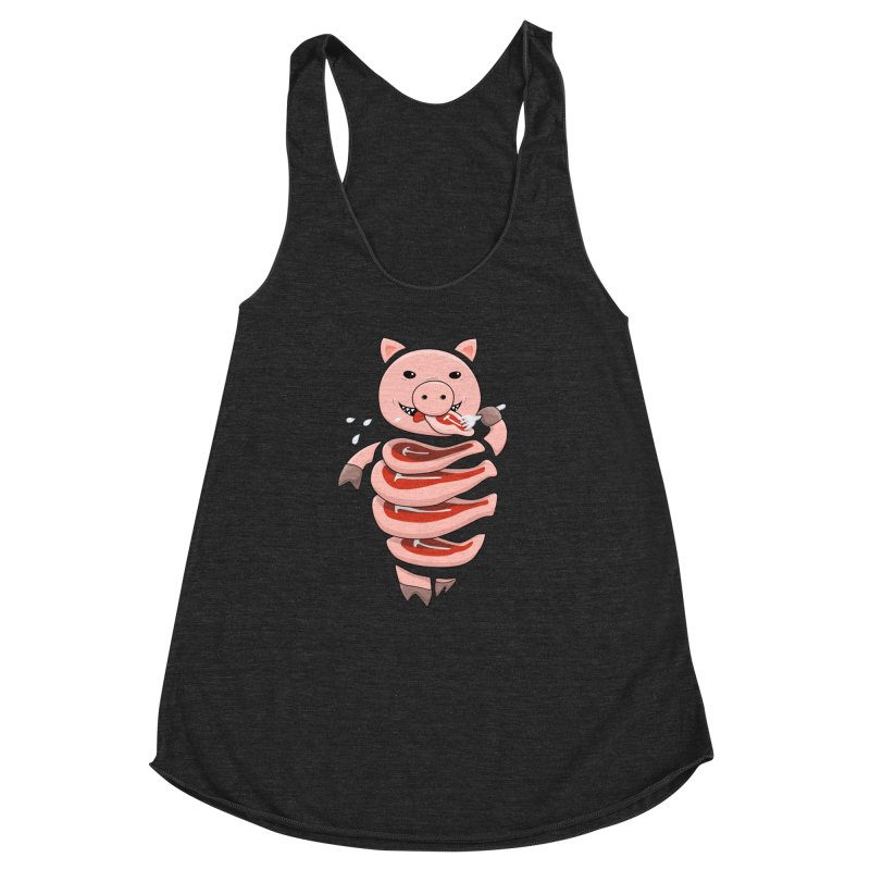Funny Stupid Hungry Pig Women's Racerback Triblend Tank by Boriana's Artist Shop