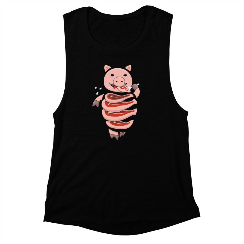 Funny Stupid Hungry Pig Women's Muscle Tank by Boriana's Artist Shop