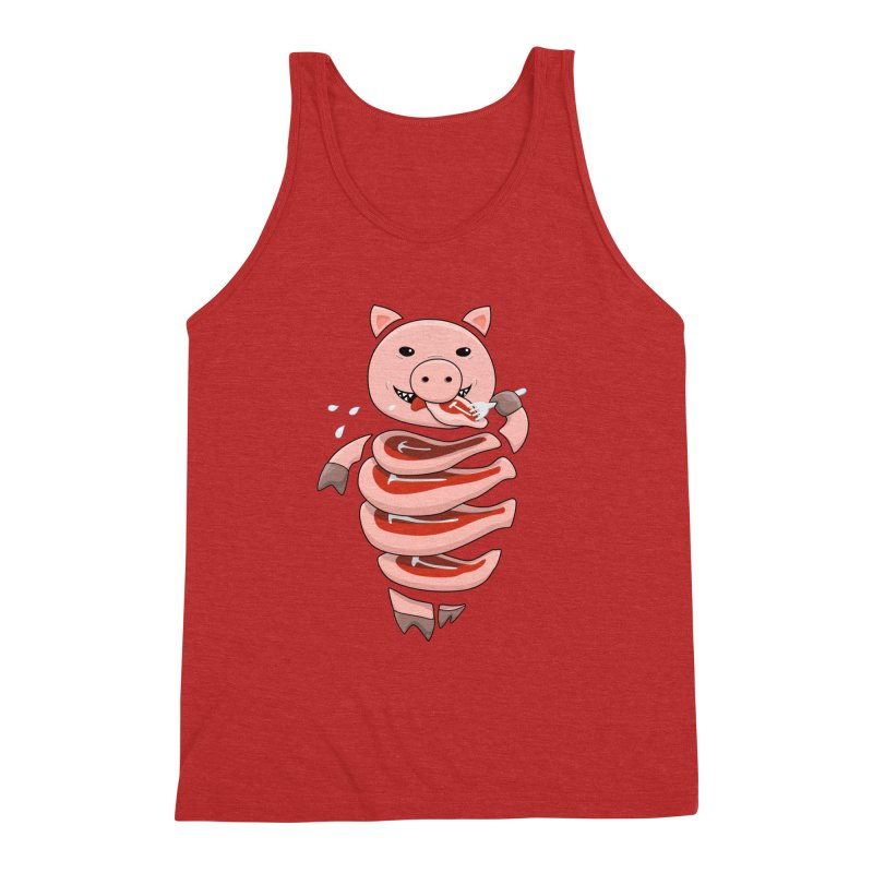Funny Stupid Hungry Pig Men's Triblend Tank by Boriana's Artist Shop