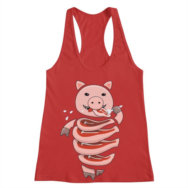 Funny Stupid Hungry Pig Women's Racerback Tank by Boriana's Artist Shop
