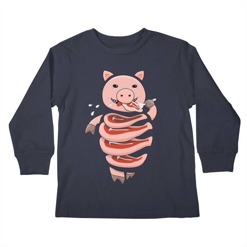 Funny Stupid Hungry Pig Kids Longsleeve T-Shirt by Boriana's Artist Shop