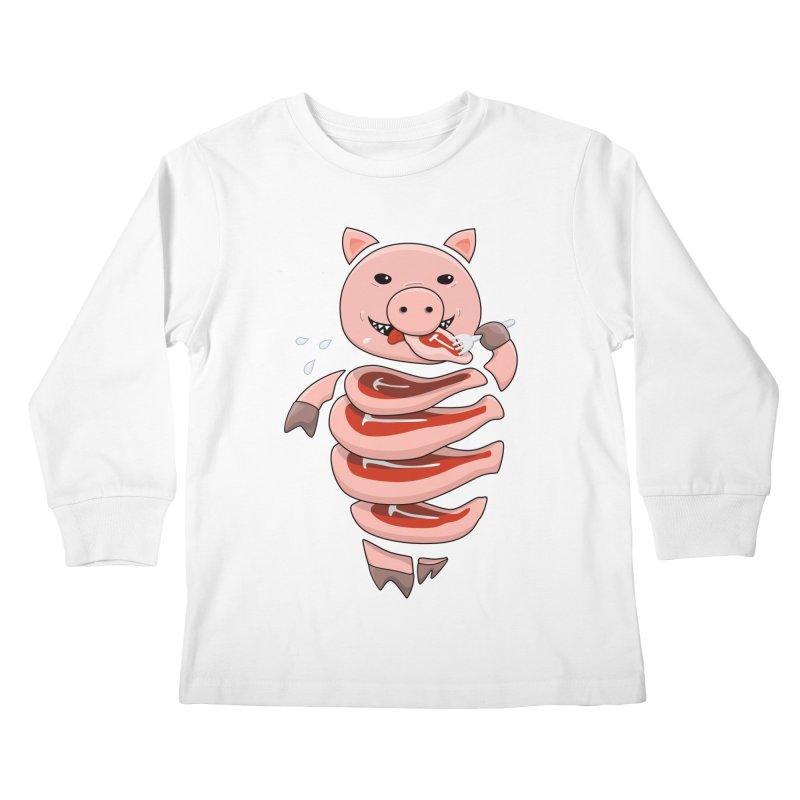 Funny Stupid Hungry Pig Kids Longsleeve T-Shirt by Boriana's Artist Shop