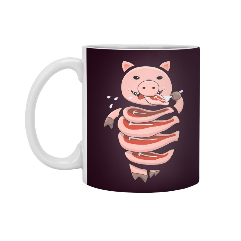 Funny Stupid Hungry Pig Accessories Standard Mug by Boriana's Artist Shop