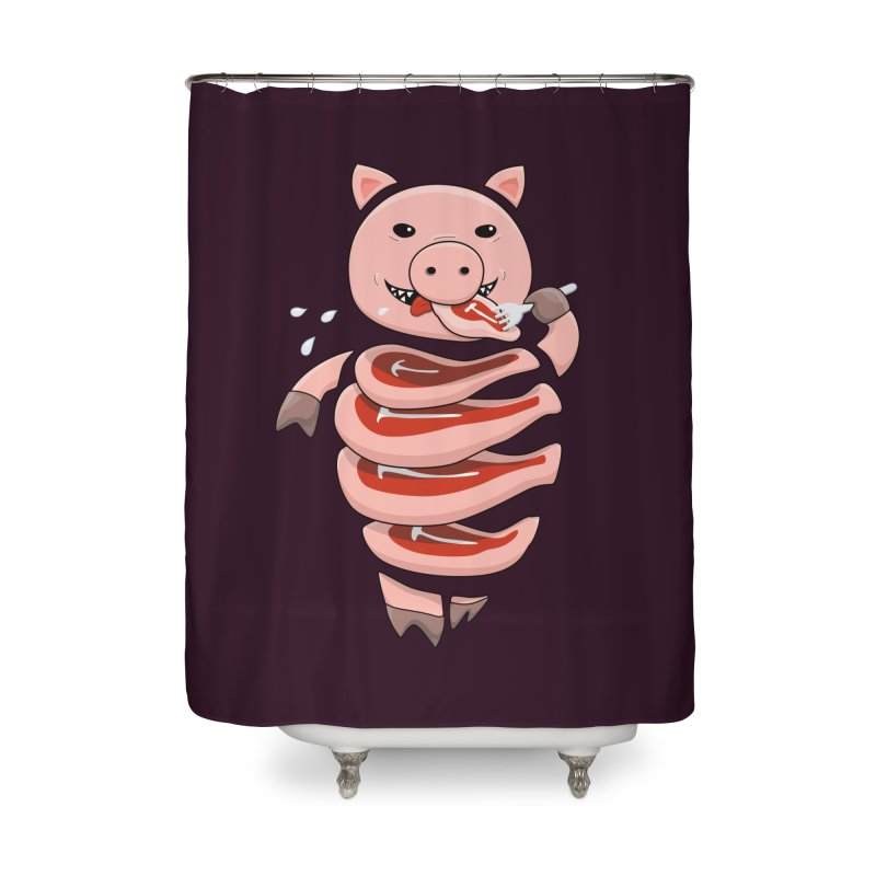 Funny Stupid Hungry Pig Home Shower Curtain by Boriana's Artist Shop