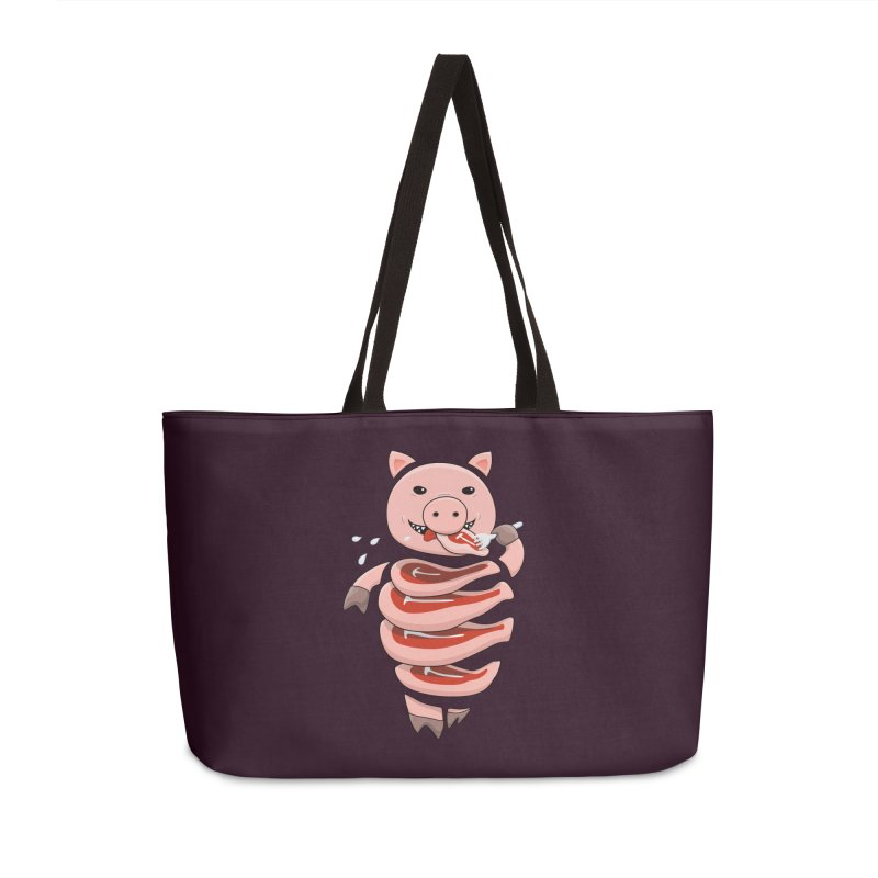 Funny Stupid Hungry Pig Accessories Weekender Bag Bag by Boriana's Artist Shop