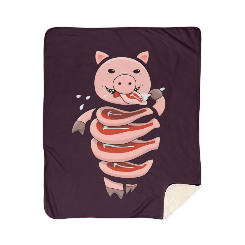 Funny Stupid Hungry Pig Home Sherpa Blanket Blanket by Boriana's Artist Shop