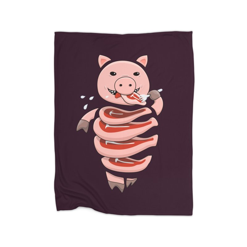 Funny Stupid Hungry Pig Home Fleece Blanket Blanket by Boriana's Artist Shop